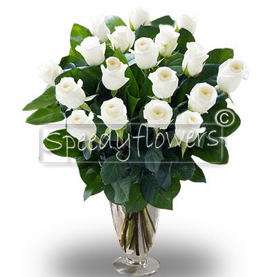 Bunch of twenty-two roses White