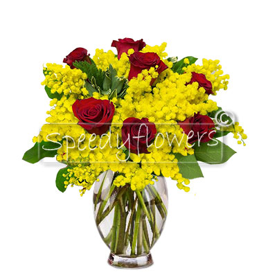 Bouquet di Mimosa e rose rosse